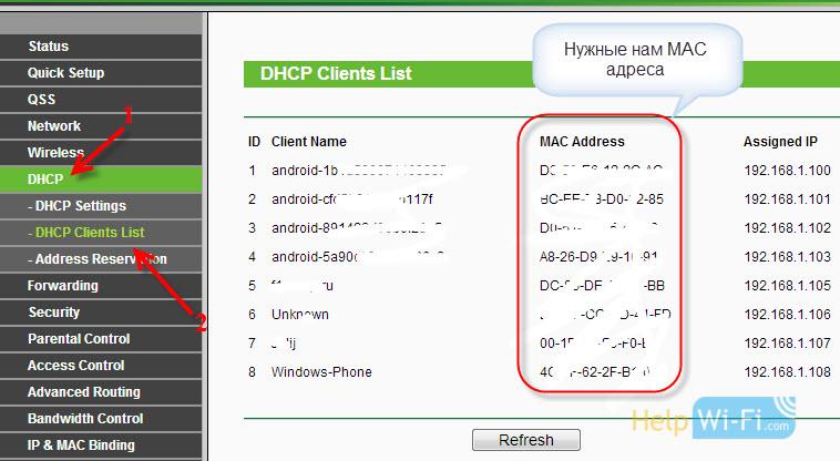 Узнаем MAC адрес устройства на роутере