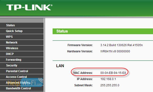 MAC Address в настройках маршрутизатораTp-Link