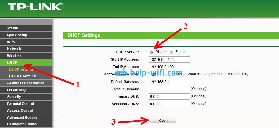 TP-LINK: отключение DHCP для правильной работы WDS