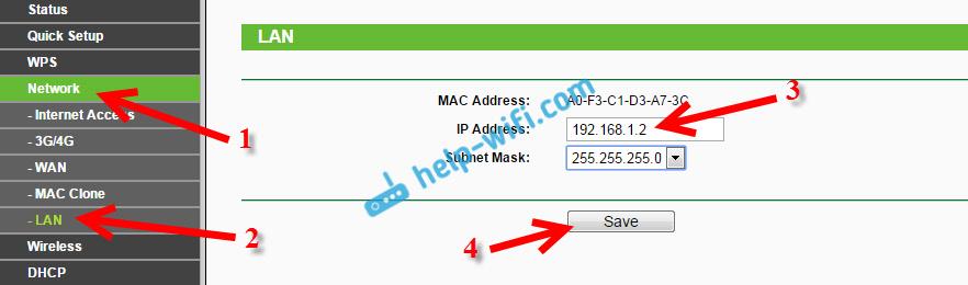 Настройка WDS: смена IP-адреса на Tp-Link