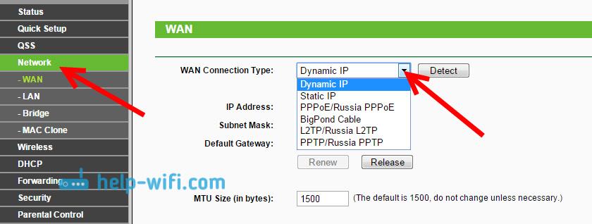 Настройка интернета наTL-WR841N