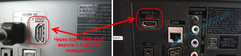 Порт HDMI (DVI) v1.3 через который не выводится звук на телевизор