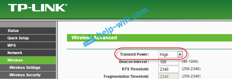 Настройка мощности сигнала наTp-Link