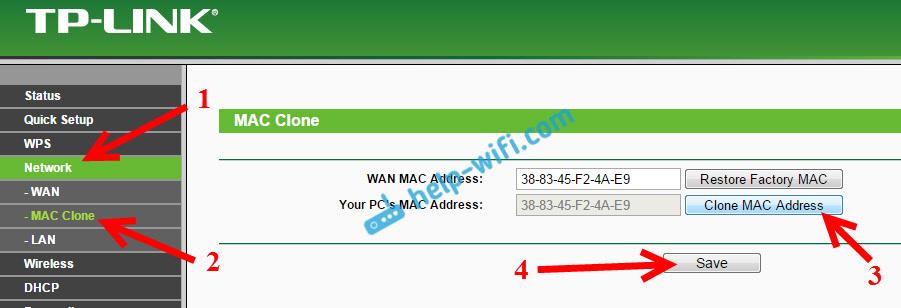 Клонирование MAC-адреса на роутере Tp-Link