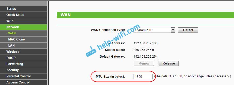 Смена MTU на Tp-Link, при проблеме с загрузкой сайтов