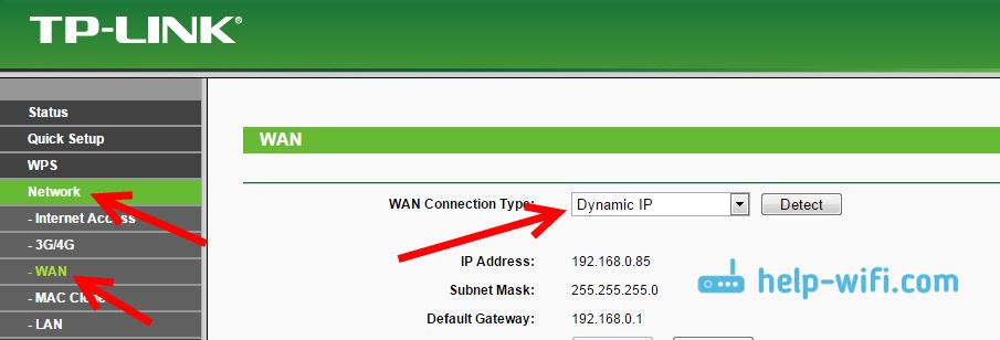 Получение динамического IP на TP-Link