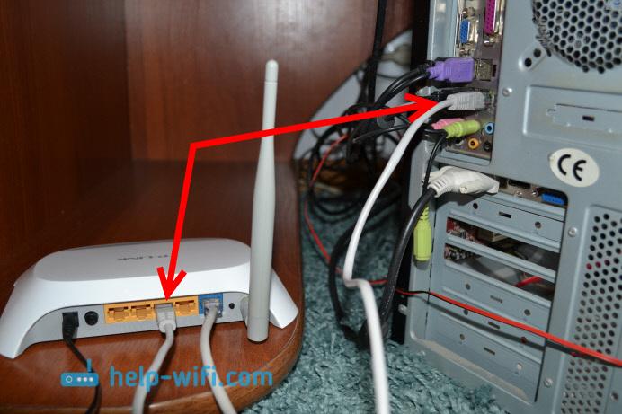 Фото: подключение компьютера к роутеру по сетевому кабелю