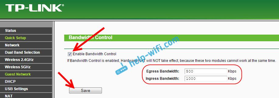Ограниченная скорость для гостевого Wi-Fi на Tp-Link