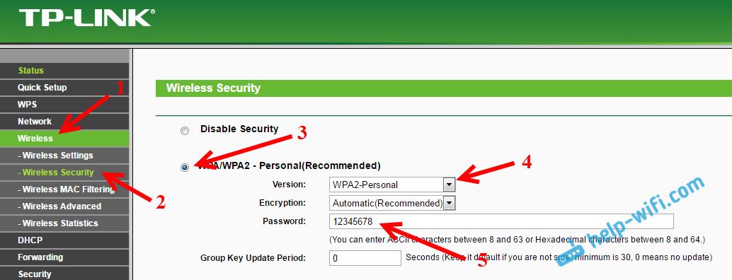 TL-MR3220: установка пароля на Wi-Fi