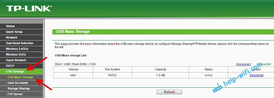 USB накопитель на роутере TP-LINK
