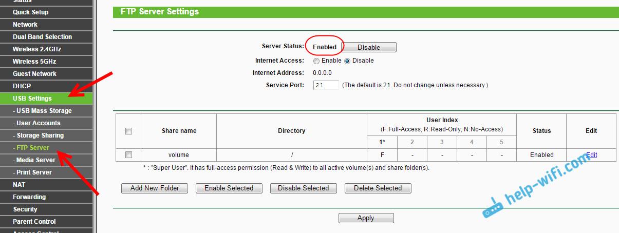 FTP сервер на роутере TP-LINK