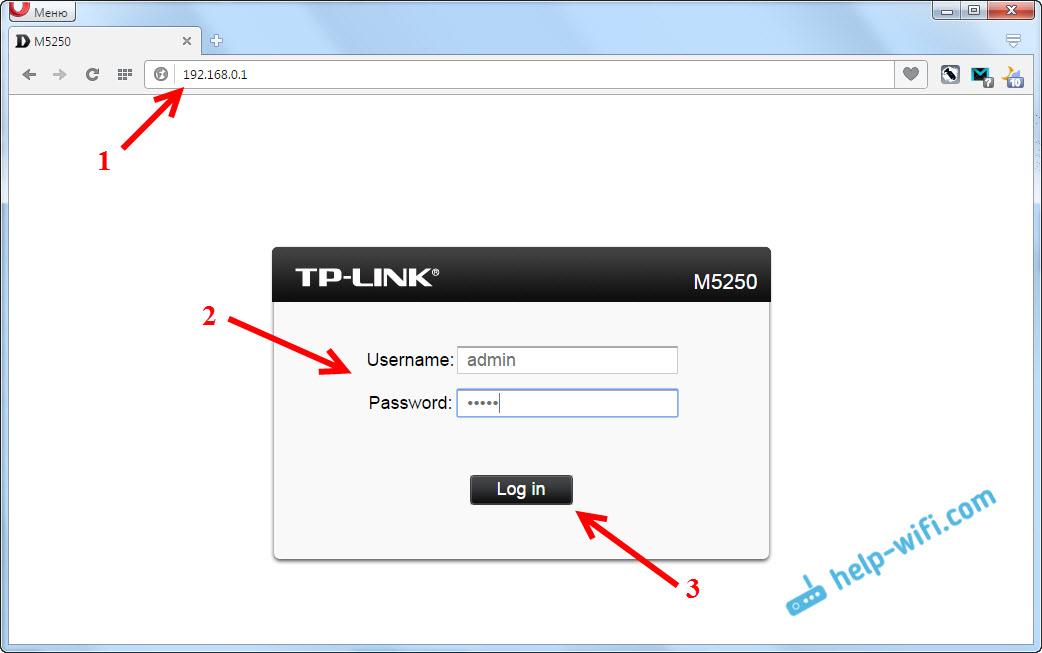 Настройки TP-LINK M5250 по адрес 192.168.0.1