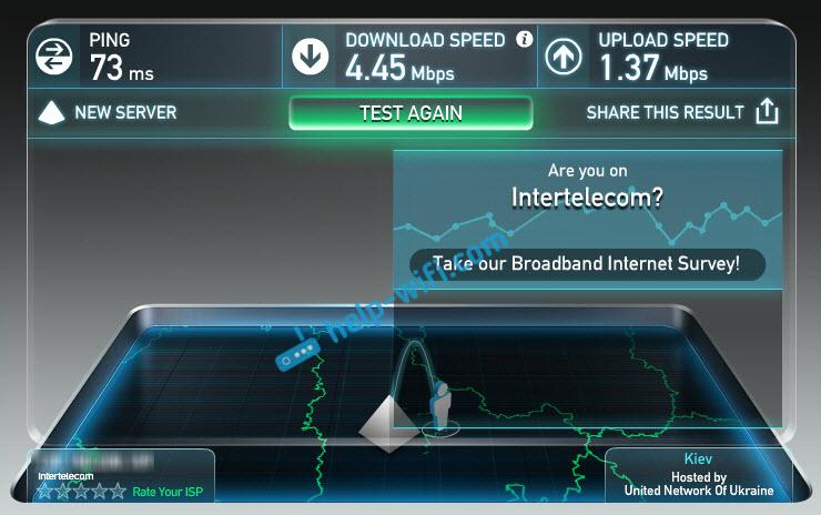 Скорость интернета Интертелеком с антенной 24 Дб