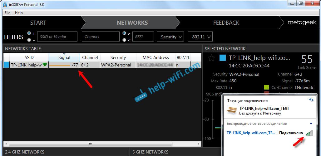 Сила сигнала Wi-Fi на антеннах 5dbi