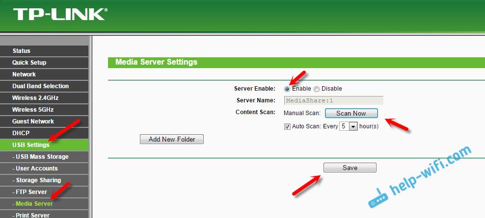 Настройка медиа-сервера на роутере TP-LINK