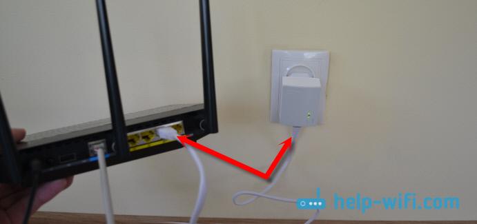 Настройка PowerLine сети: подключение адаптера TL-PA4010