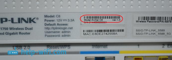 Аппаратная версия роутера TP-LINK Archer C8