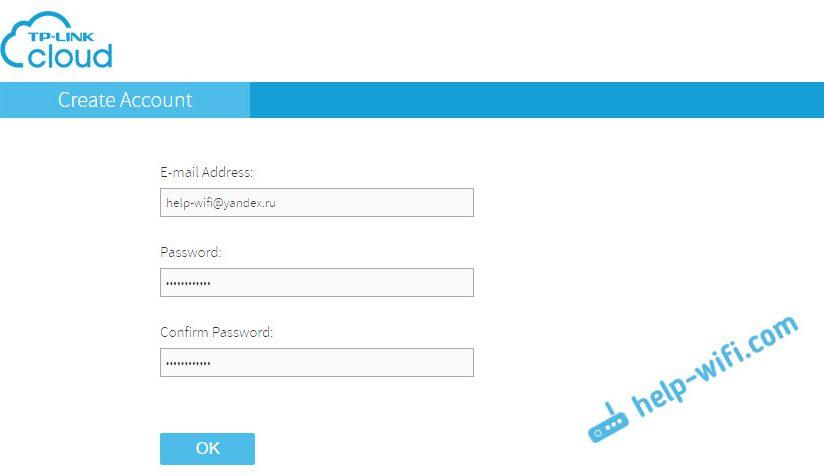 Регистрация на tplinkcloud.com