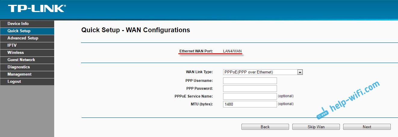 Как подключить интернет в LAN порт на ADSL модеме