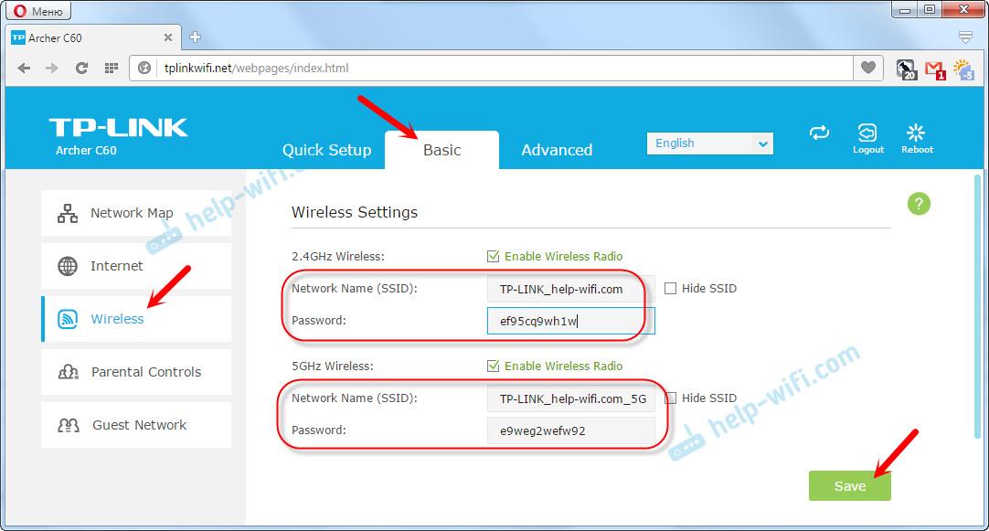 TP-Link Archer C60: настройка беспроводной сети и пароля
