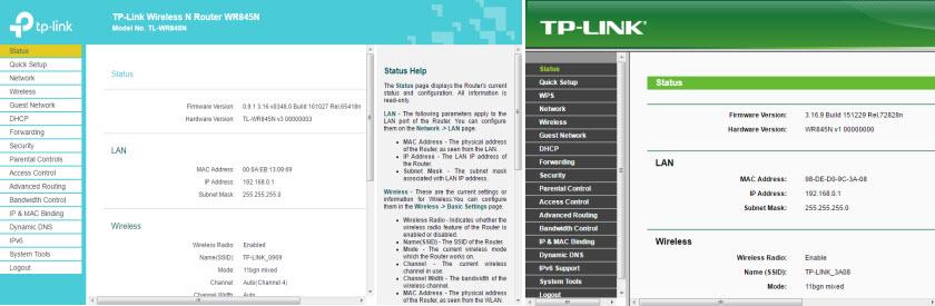 Разные web-интерфейсы TP-Link
