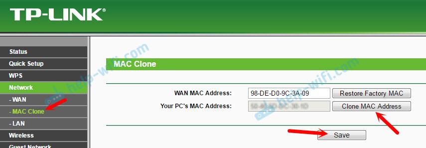 Клонирование mac адреса на TP-Link TL-WR845N