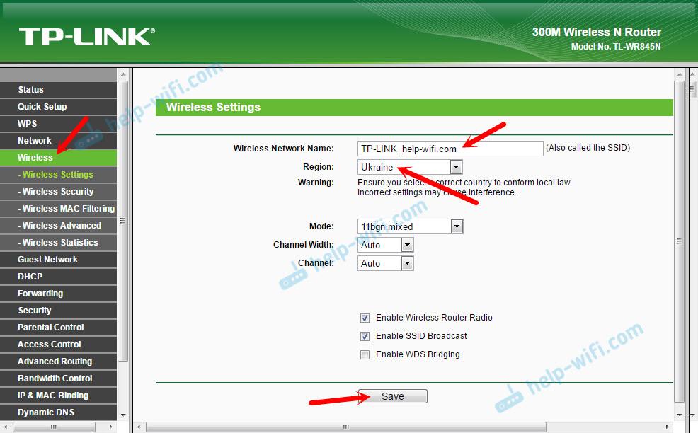 Настройка Wi-Fi на TP-Link TL-WR845N