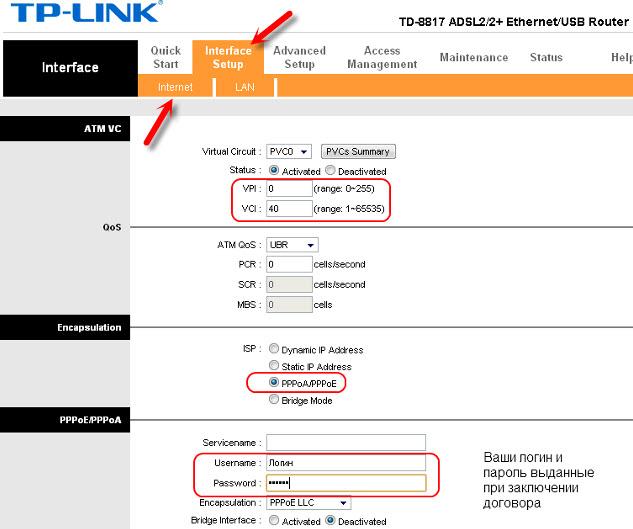 Не работает интернет через TP-LINK TD-8817