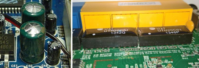 Вздутые конденсаторы на роутере, модеме