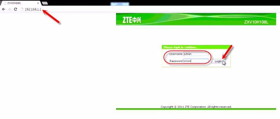 Вход в настройки ZTE ZXV10 H108L