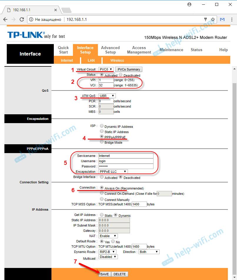 Настройка ADSL интернета TP-Link TD-W8951ND