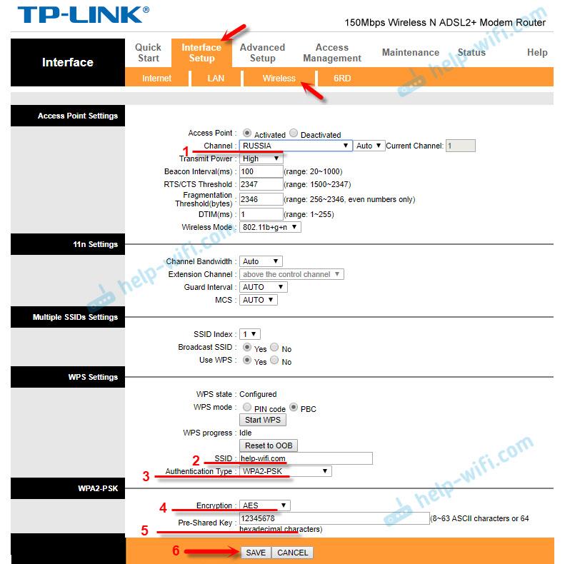 Настройка Wi-Fi на TP-Link TD-W8951ND