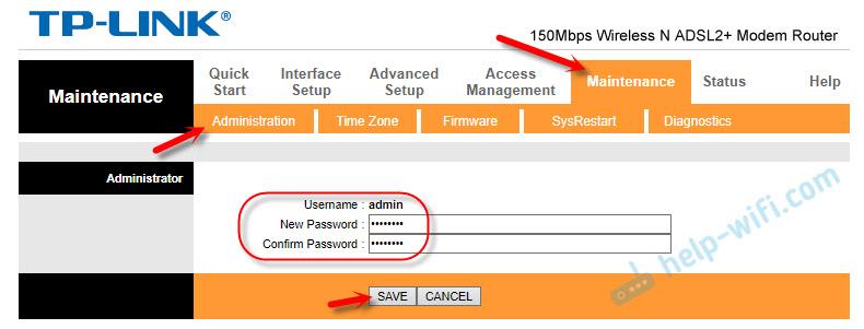Смена пароля admin на ADSL модеме