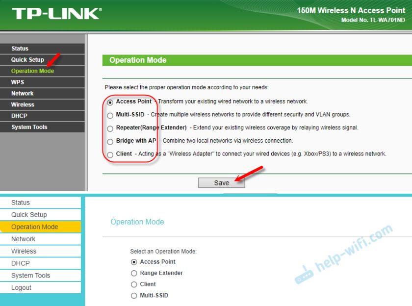 Смена режима работы точки доступа TP-Link