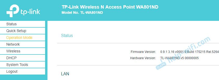 Настройка TP-Link по адресу 192.168.0.254