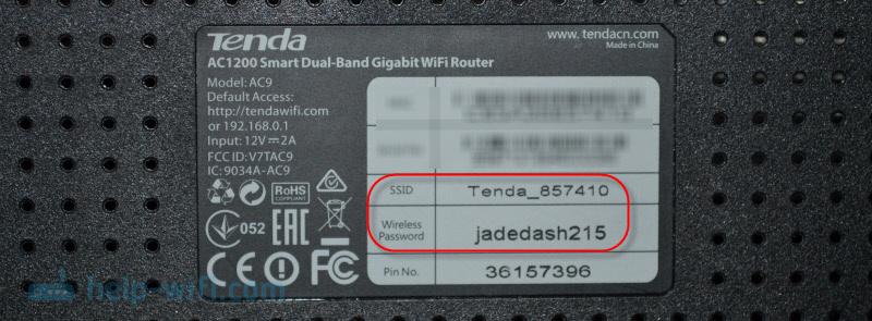 Заводская информация роутера Tenda