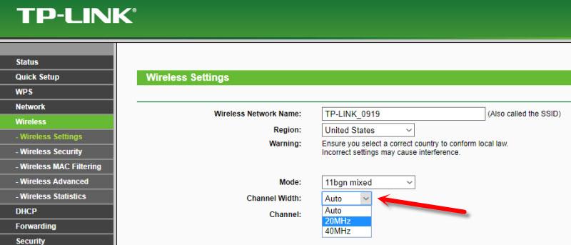 Смена ширины канала на TP-Link TL-WR741ND из-за нестабильной работы Wi-Fi