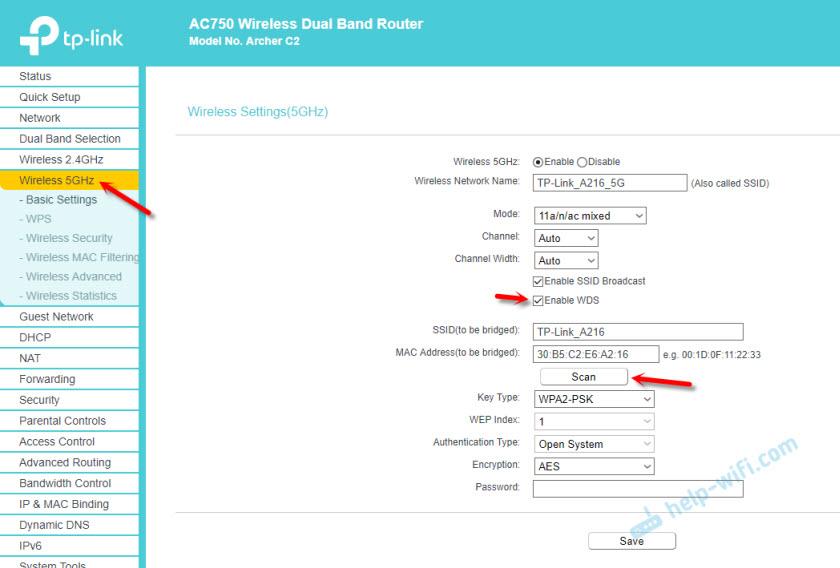 Режим моста в диапазоне 5 GHz на TP-Link Archer C2