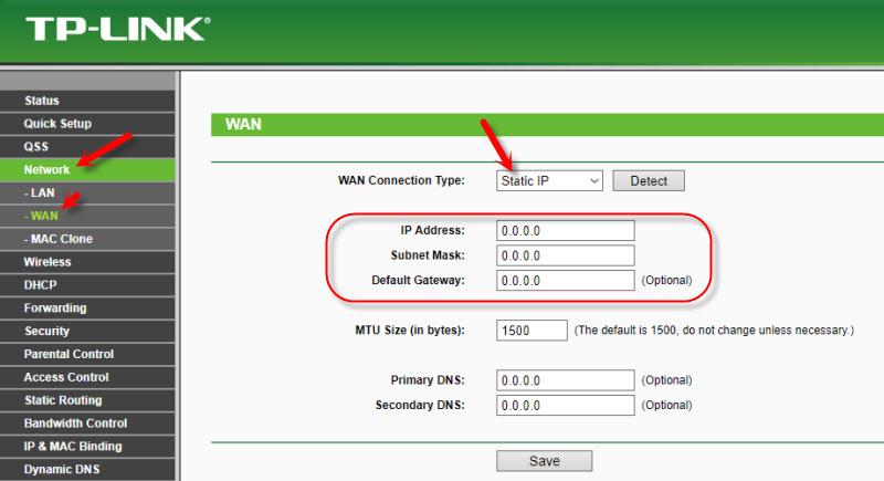 Статический IP при подключении TP-Link к модему