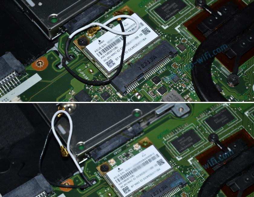 Отключение Wi-Fi антенн в ноутбуке (белый и черный провод)