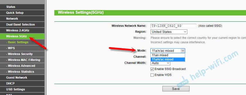 TP-Link: режим (mode) n/ac для диапазона 5 ГГц