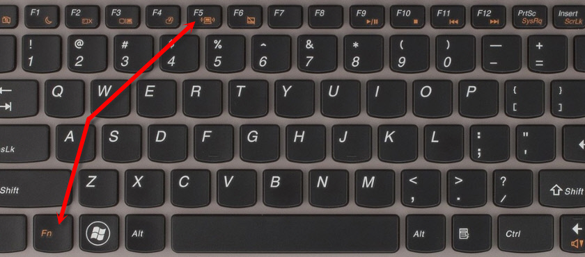 Сочетание клавиш Fn + F5 для активации Wi-Fi на Леново