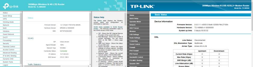 веб-интерфейс ADSL или 3G/4G модема TP-Link