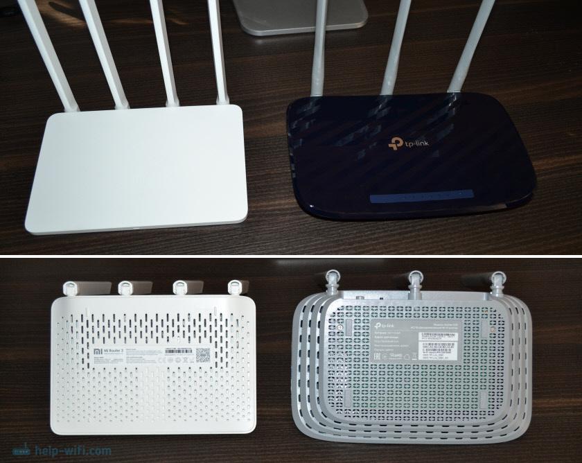 Сравнение дизайна роутеров TP-Link Archer C20 и Xiaomi Mi Wi-Fi Router 3