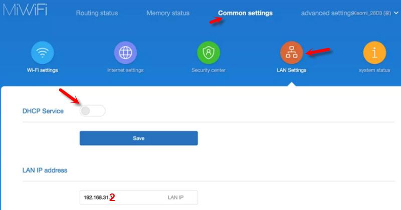 Отключение DHCP-сервера и смена IP на Xiaomi Mi Router 3G