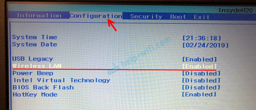 "Wi-Fi ""Wireless LAN"" в BIOS ноутбука Lenovo"