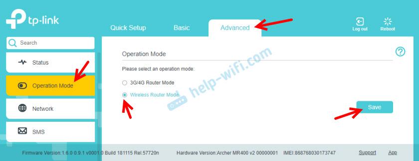 Переключение режима работы маршрутизатора TP-Link Archer MR400
