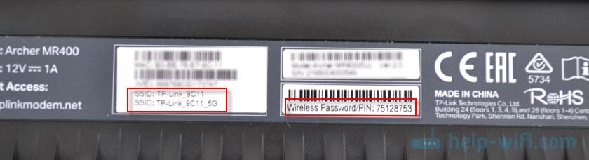 Заводская сеть Wi-Fi и пароль на TP-Link Archer MR400