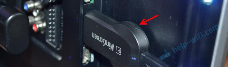 Кнопка для переключения режима работы Airplay/Miracast на адаптере для телевизора