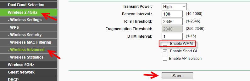Разрывы Wi-Fi подключения на ноутбуке из-за включенной функции WMM на роутере